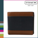 Point double coach COACH men folio wallet F74792 saddle X navy HLO compact eye D wallet [regular outlet]