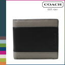 Point double coach COACH men folio wallet F74792 slate X black HLO compact eye D wallet [regular outlet]
