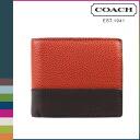 Coach COACH men's 2 fold wallet F74634 last x dark brown Camden leather compact ID wallet [regular outlet]