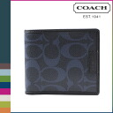 Point twice coach COACH men's 2 fold wallet F74739 Dark Navy × Navy Heritage signature double billfold [8 / 26 new in stock] regular outlet 02P20Sep14