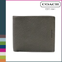 Point twice coach COACH men's 2 fold wallet F74768 Sterling gray Lexington saffiano leather compact i.d [10 / 28 new in stock] regular outlet 02P30Nov14