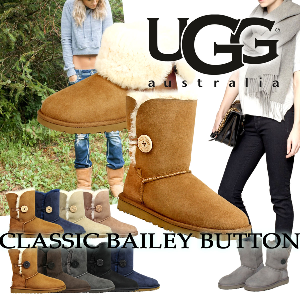 ugg bailey button boots womens chocolate 5803