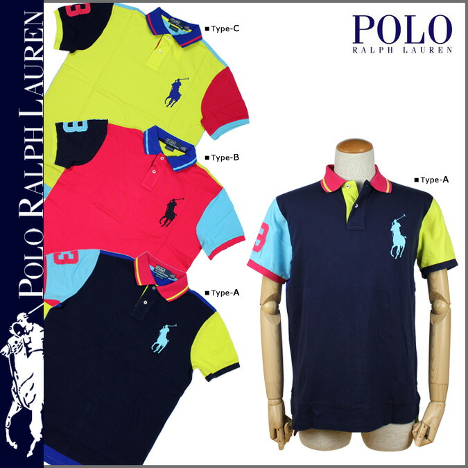 Point 2 x Polo Ralph Lauren POLO by RALPH LAUREN polo shirt 3 color 0465436 Custom Neon Multi Big Pony cotton men\u0026#39;s [regular] 02P31Aug14