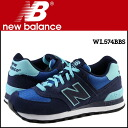 New Balance new balance sneakers [blue X green] WL574BBS B Wise suede Lady's suede cloth [1/20 reentry load] [regular]
