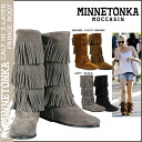 Minnetonka MINNETONKA calf Hi 3 layer boots CALF HI's 3-layer FRINGE BOOTS suede ladies suede 2013 new ★ ★