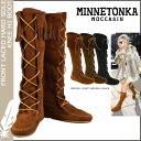 Knee high fringe boots, Minnetonka MINNETONKA lace front ハードソール FRONT LACED HARD SOLE KNEE HI BOOTS suede ladies suede new [Brown], [1422] [regular]