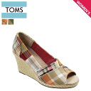 TOMS SHOES Thoms shoes Lady's PLAID WOMEN'S WEDGES [Madras] play doe men wedgie cotton sandals Tom's Thoms shoes [4/9 Shinnyu load] [regular]★★
