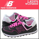 New balance new balance women's WL574NEN sneaker B wise textile NEON LIGHTS PACK 2014, new black / neon pink [8 / 14 new stock] [regular]
