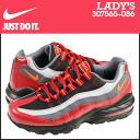 Nike NIKE women's AIR MAX 95 GS sneakers Air Max 95 girls leather / mesh kids ' Junior kids GIRLS 307565-086 black × Crimson [12 / 19 new stock] [regular] ★ ★
