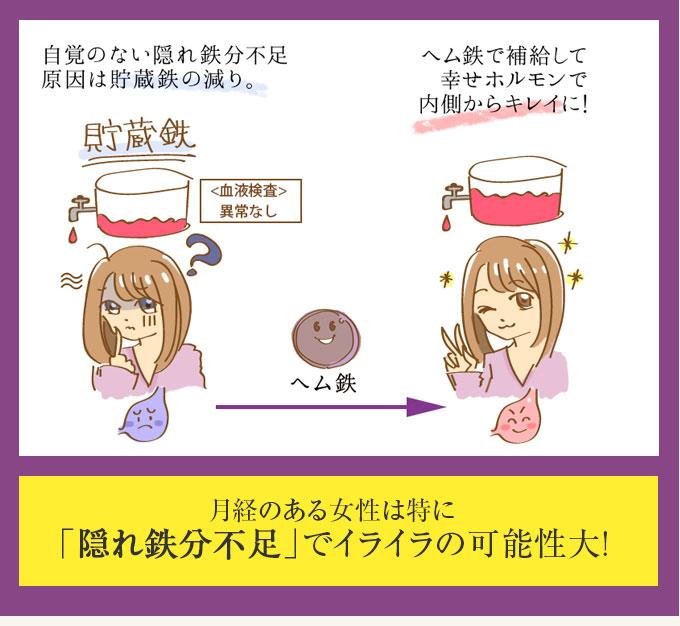 自覚のない隠れ鉄分不足、原因は貯蔵鉄の減り ヘム鉄で補給して幸せホルモンで内側からキレイに! 月経のある女性は特に「隠れ鉄分不足」でイライラの可能性大!