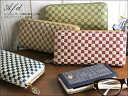 Plump leather leather Yuzen chess pattern zip around Desgin ladies wallets, wallet /Anti-Forme wallet polka-dot leather pig leather Yuzen dyed o-sho.