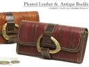 ( DA468-PNP ) long wallet in soft pleated leather with buckle / アインソフ women's wallets wallet ladies leather mens o-sho