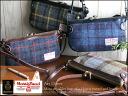 Harris Tweed & leather shoulder bag / art direct shoulder bag diagonally over bag Pochette clutch check pattern ladies leather wool o-sho