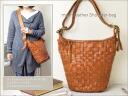 Random mesh leather shoulder & Shari aimed bag AN-154 / robita leather bags women's o-sho