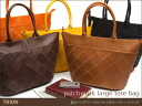 Bucket type large tote bag / try on / casual Thoth / real leather bag lady o-sho of the lozenge patchwork