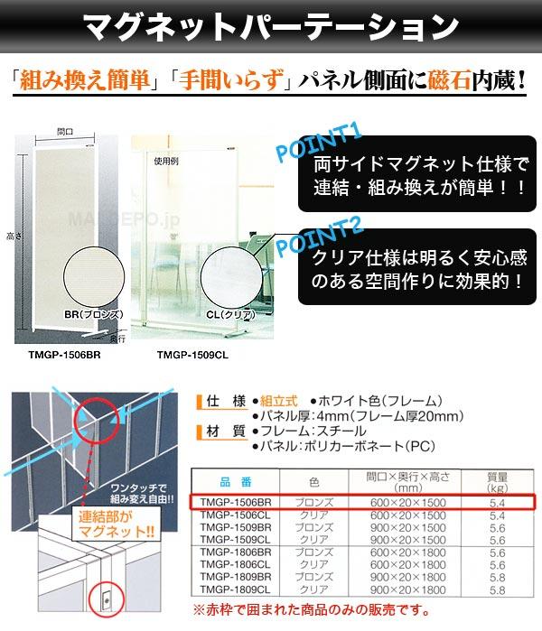 TRUSCO マグネットパーテーション(600×20×1500mm) ブロンズ TMGP-1506BR