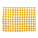 fog linen Tea towel yellow white Plaid