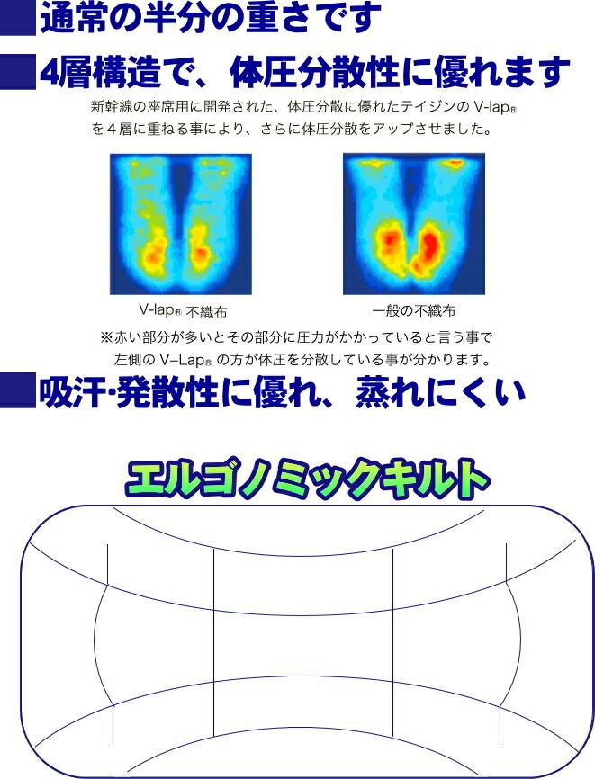 テイジン(帝人)V-Lap敷布団 エルゴノミックキルト 体圧分散