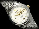 SEIKO 5 lady's self-winding watch watch white dial gold index stainless steel belt SYMG73J1