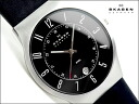Skagen thin mens watch 233 leather black dial black leather belt 233 XXLSLB