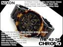 Nixon men's Chronograph Watch THE 42-20 CHRONO 42-20 Chrono tortoise black stainless steel A037-679