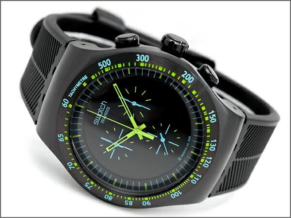 Swatch Irony Mens Watch Chronograph GREEN IN DARK Black Dial Blue X