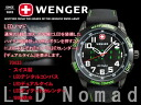 Wenger men watch LED nomad black X green rubber belt 70433