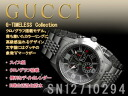 Gucci chronograph men's watch G-timeless collection black x silver stainless steel belt YA126205