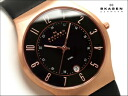 Skagen mens watch rose gold case black dial black leather belt 233 XXLRLB