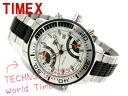 Timex men world thyme watch silver dial stainless steel X urethane belt T3C408