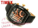 Timex men liner chronograph watch black X pink gold leather belt T3C492