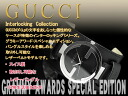 Gucci men watch INTERLOCKING collection black dial black leather bangle belt YA133201