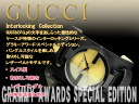 Gucci men watch INTERLOCKING collection IP black X gold dial black leather bangle belt YA133202
