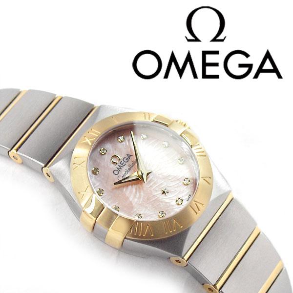 欧米茄星座欧米茄女式手表粉红贝壳表盘银色和金色抛光的不锈钢带 123图片