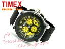 Timex IRONMAN men chronograph watch black X yellow rubber belt T5K350