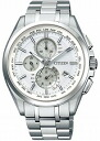 Citizen atessa mens watch eco-drive radio clock perfect multi 3000 ダイレクトフライト chronograph white titanium AT8040-57 A