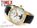 Timex T-Series mens watch chronograph Gold White Dial black leather belt T2N220