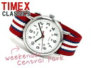 Timex week ender men Lady's watch white dial red Martina irone belt T2N746