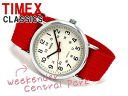 Timex Weekender mens and Womens watch off white dial red nylon belt T2N751