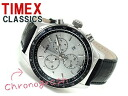 Timex CLASSICS men chronograph watch white dial black leather belt T2N820