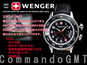 Wenger men watch command GMT black black leather 74745