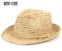 뉴욕 모자 라 피아 페도 라 내추럴 NEW YORK HAT RAFFIA FEDORA NATURAL #WN: S