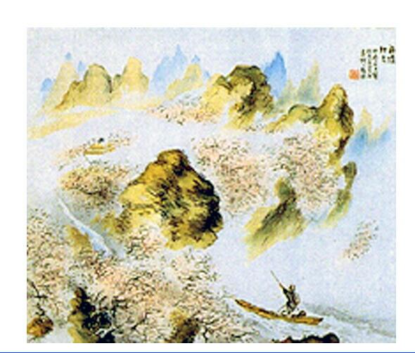 桃源境 橋本関雪  作品紹介 晋の陶淵明の作詩に、ある漁夫が道に迷って桃林の奥に入ったとこ...