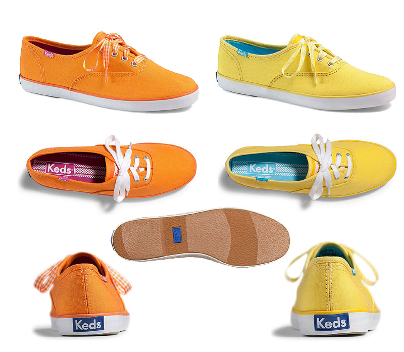 keds champion gingham lace yellow
