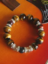 5 A class super large Tiger eye 14 mm beads & rutilated quartz and pray for luck with money up and power stone bracelets sale 69% off hot deals
