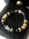 Silver Dragon Onyx & Tiger eye rutilated quartz biker bracelet stones men's bracelet