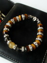 Rutilated quartz & Tiger eye bright bracelet stones men's bracelet