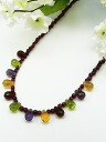 Briolette cut necklace of the garnet amethyst peridot citrine