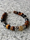 Silver & rutile and Tiger's eye and Onyx bracelet