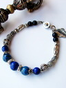 Karen silver bracelet / クリソコラ & lapis lazuli